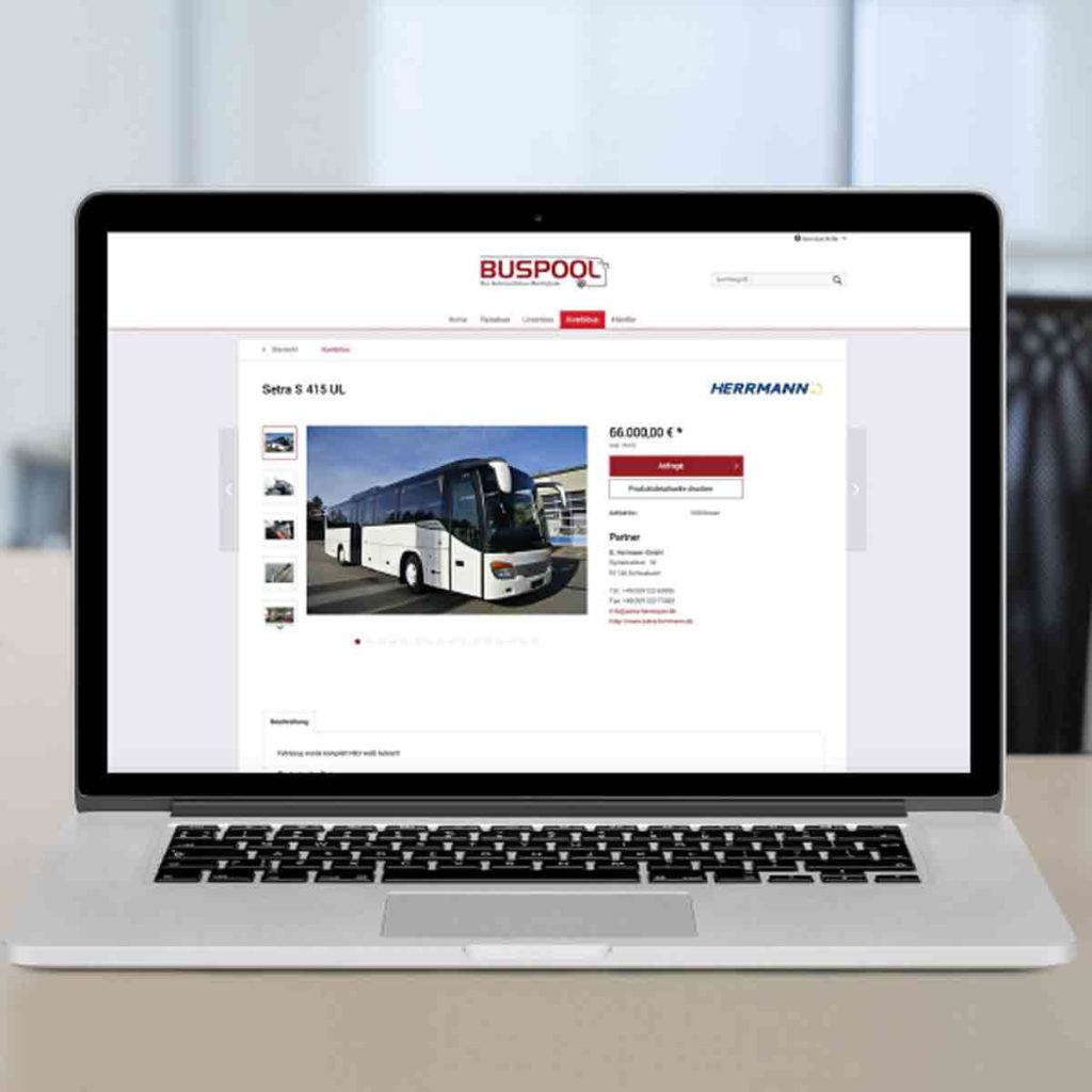 Buspool Website Laptop