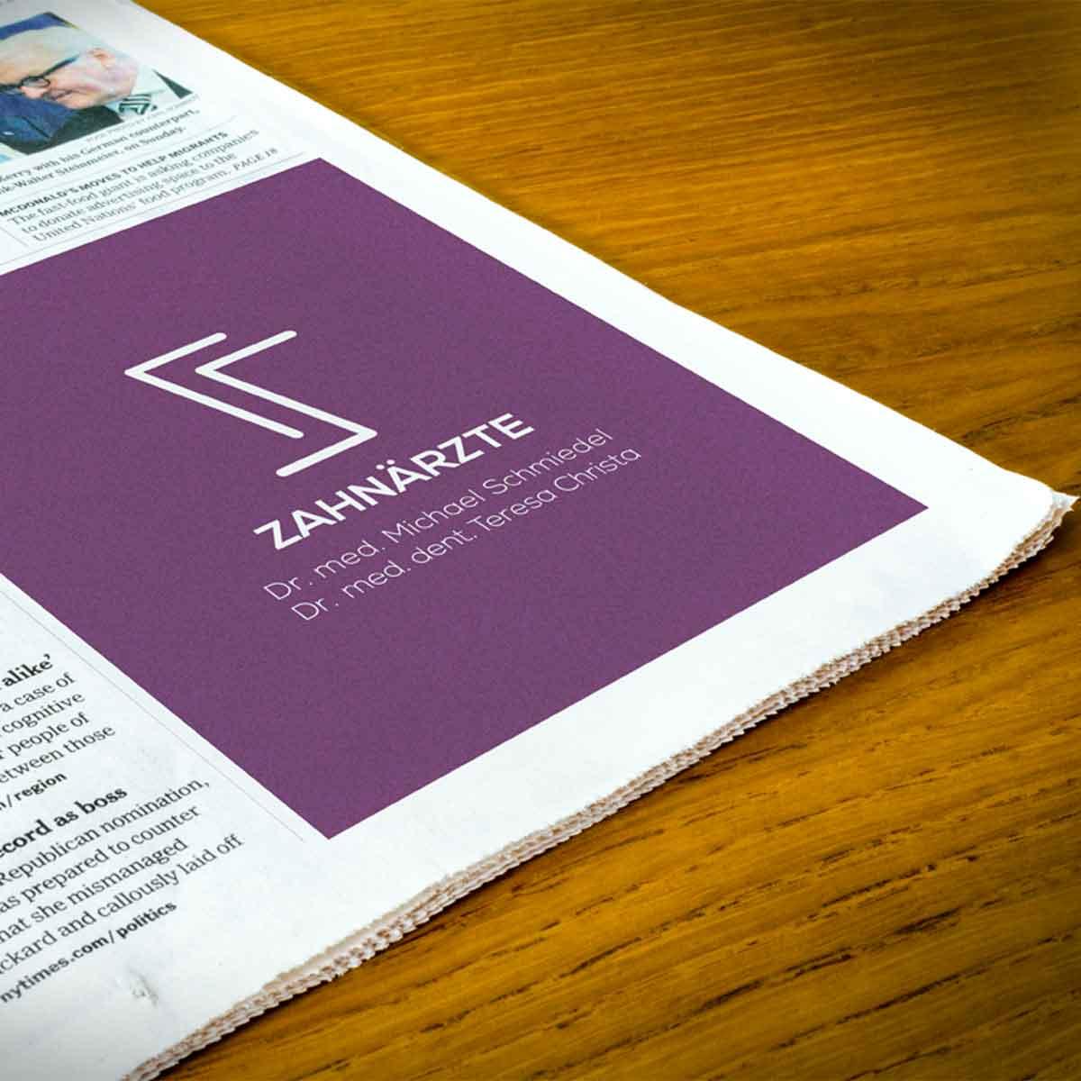 mr. pixel KG | Zahnarzt Schmiedel | Zeitungsanzeige