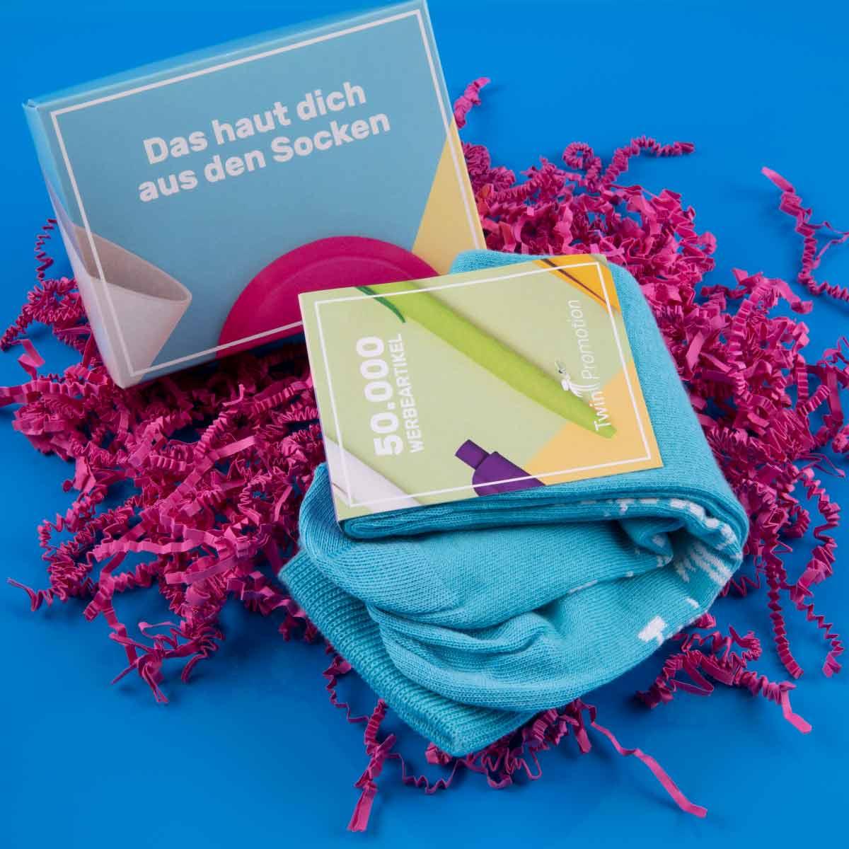 Twin-Promotion-Socken-blau